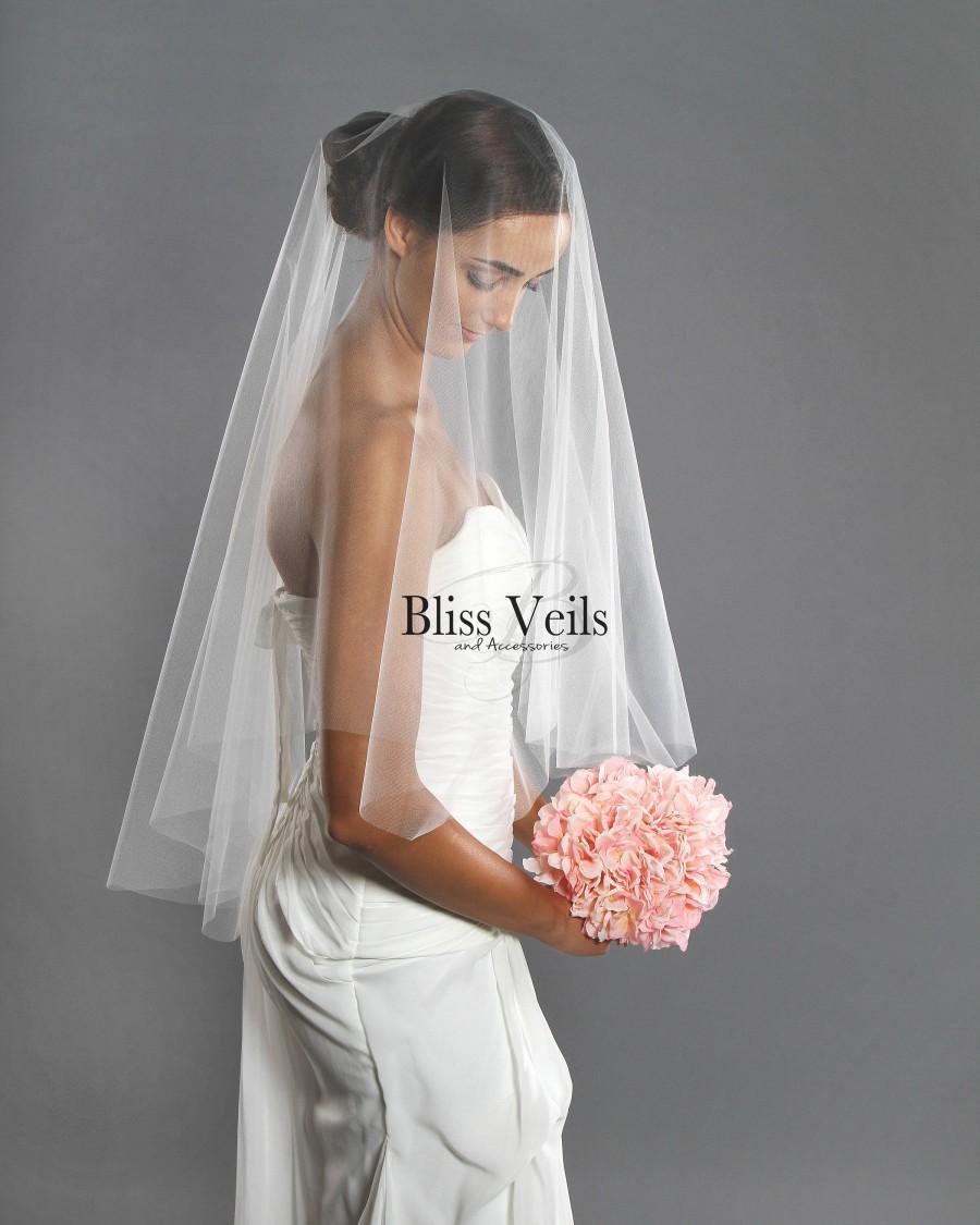Hochzeit - Drop Veil - Fingertip Veil - Soft Wedding Veil - Blusher Veil Veil- Available in 10 Sizes & 11 Colors - Fast Shipping!