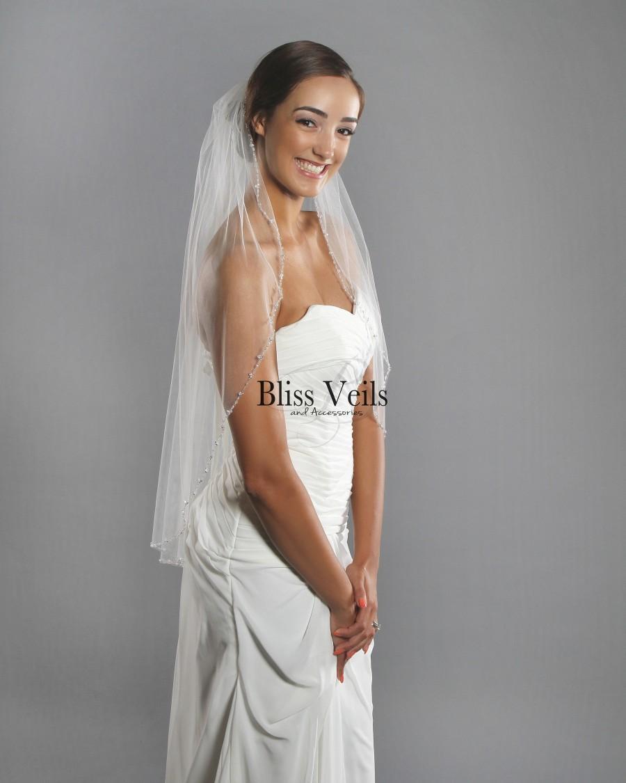 Свадьба - Crystal Beaded Veil,  Wedding Veil with Pearls, Bridal Veil, Ivory Fingertip Veil -  Fast Shipping!