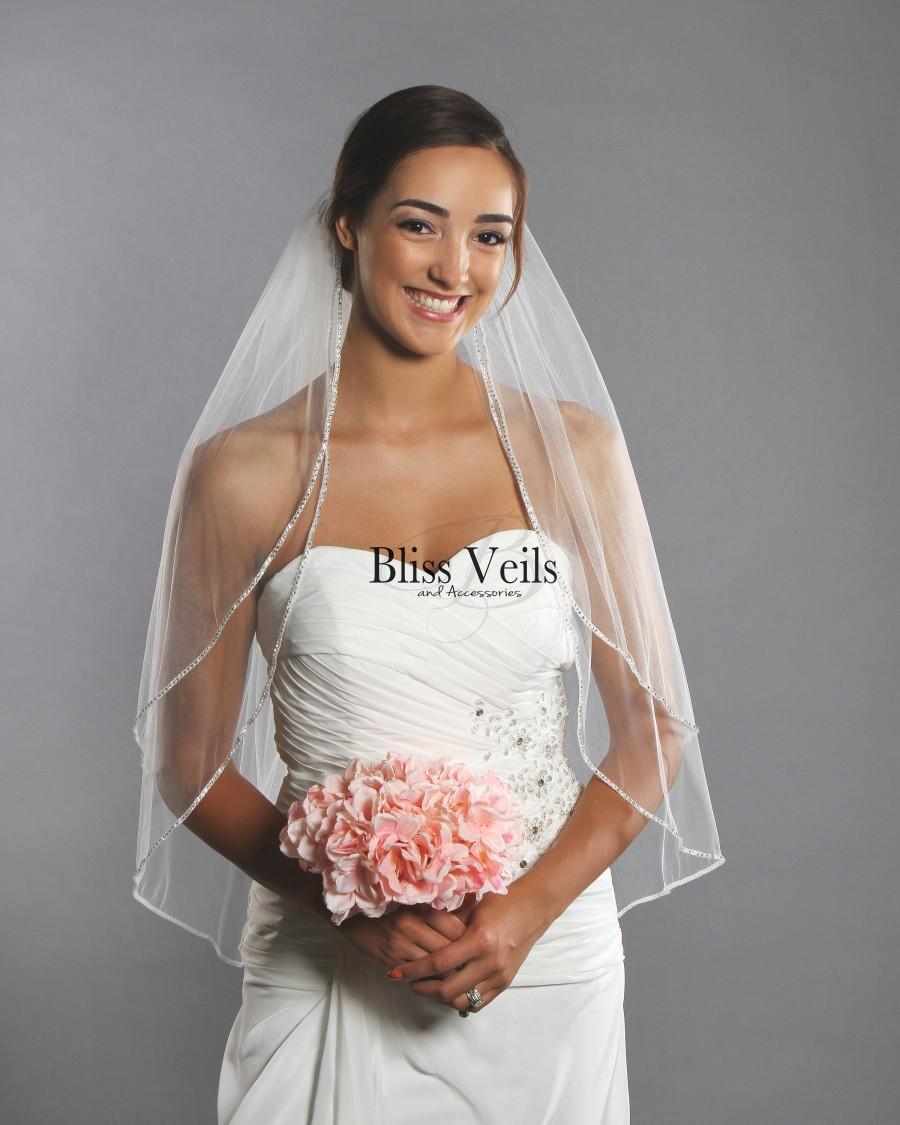 Свадьба - Rhinestone Veil, Beaded Veil, 2 Tier Fingertip Veil, Ivory Wedding Veil, White Veil - Available in 10 Sizes & 3 Colors - Fast Shipping!