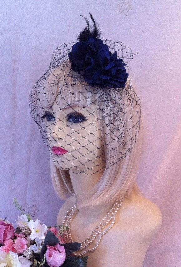 Mariage - vintage Designer style NAVY Blue rose BRIDAL hair peice netted face veil fascinator hat feathers wedding party races funeral