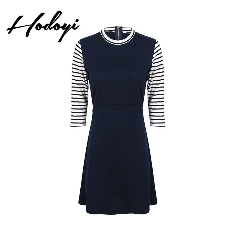 Свадьба - Vogue Simple Split Front Solid Color Slimming High Neck 3/4 Sleeves Fall Stripped Dress - Bonny YZOZO Boutique Store
