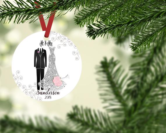 Newlywed Gift Gifts For Newlyweds Mr Mrs Ornament Our First Christmas Together Personalized Christmas Gift Couples Gift 2881115 Weddbook