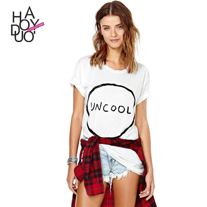 Wedding - Oversized Vogue Printed Frilled Short Sleeves Alphabet Summer T-shirt - Bonny YZOZO Boutique Store
