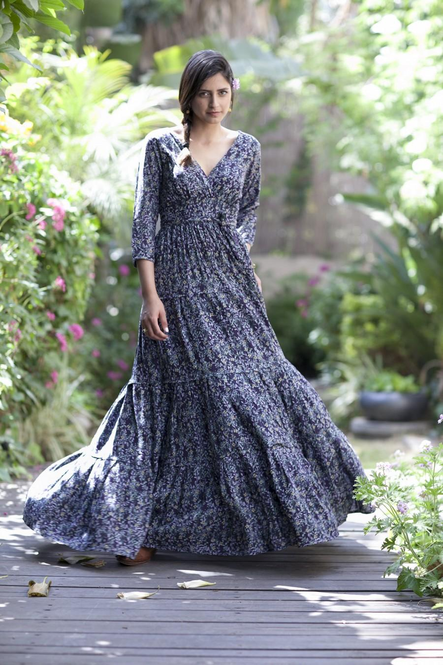 Mariage - Long Sleeves Maxi Dress, Hippie Conservative Evening Fall Dress, Winter Floral Dress, Boho dress, Gypsy Romantic Carrie Dress, Frill Dress