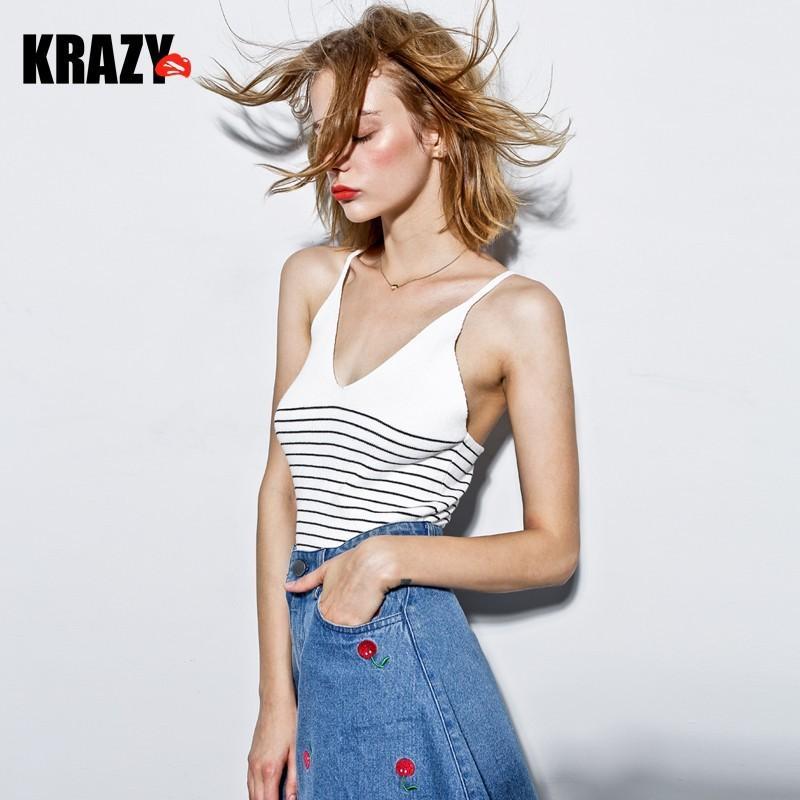 زفاف - Light sexy, smart casual. Fresh wind hit the color stripe slim v neck knit tank top women - Bonny YZOZO Boutique Store