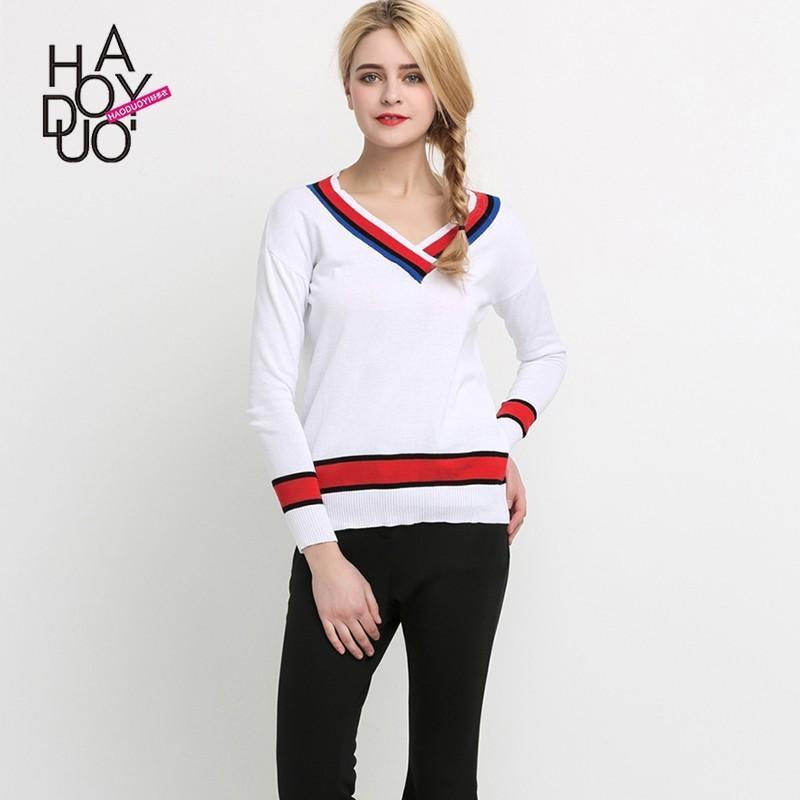 زفاف - 2017 spring new sweet College style hit color V-neck pullover - Bonny YZOZO Boutique Store