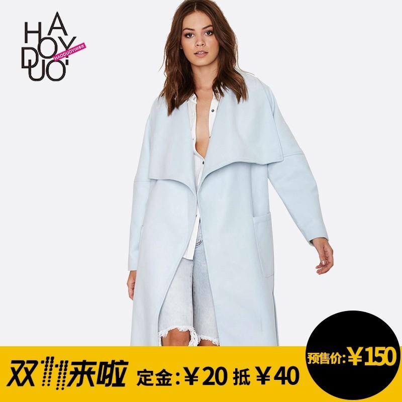 Hochzeit - Vogue Simple Slimming Polo Collar One Color Fall Casual Overcoat - Bonny YZOZO Boutique Store