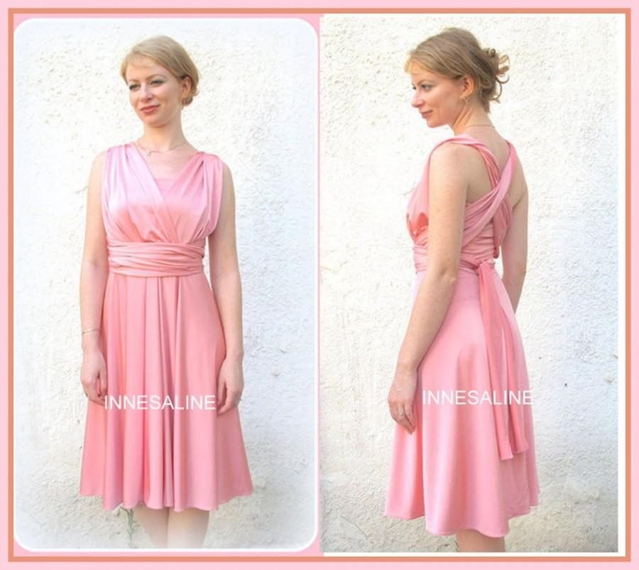 Wedding - Bridesmaids dress,  Short Infinity Dress, dress in blush pink silk color with matching tube top