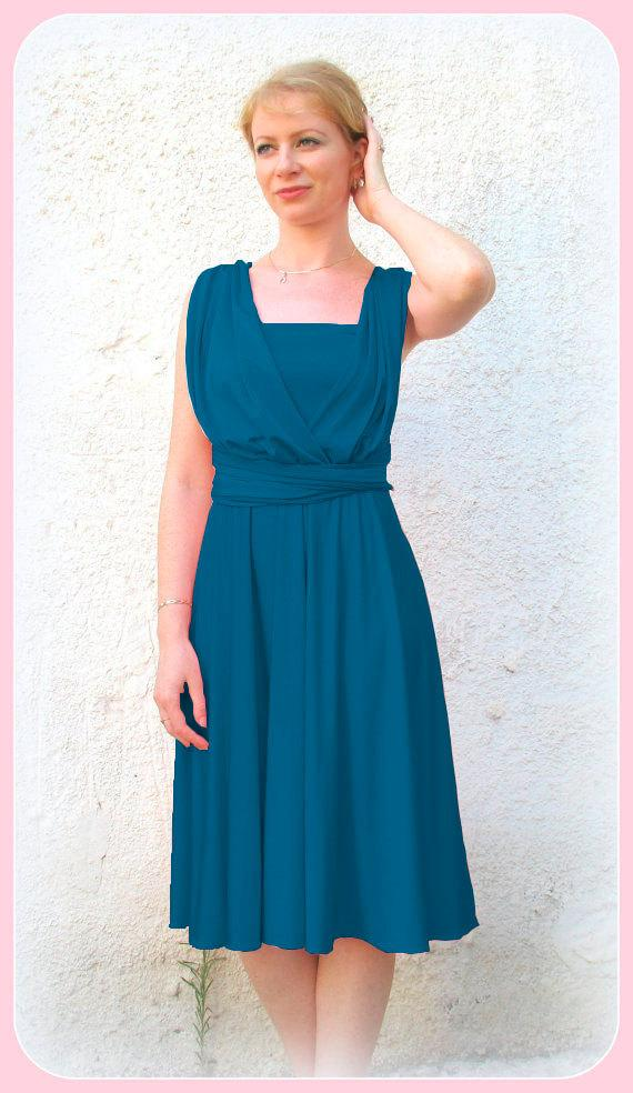Wedding - Bridesmaids dress, Infinity dress in blue petrol color,   dress with matching tube top