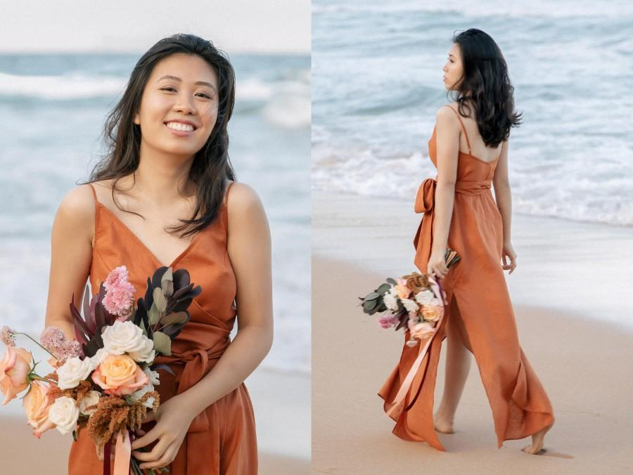 Wedding - Paprika rust bridesmaid dress in linen. This is a wrap dress with v neckline and sash perfect for a boho style wedding and beach ceremony.