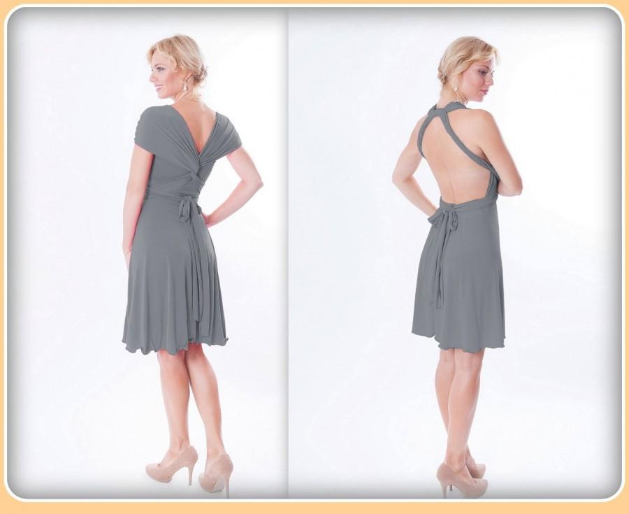 Hochzeit - Convertible dress in middle gray color, Bridesmaid  dress with matching tube top