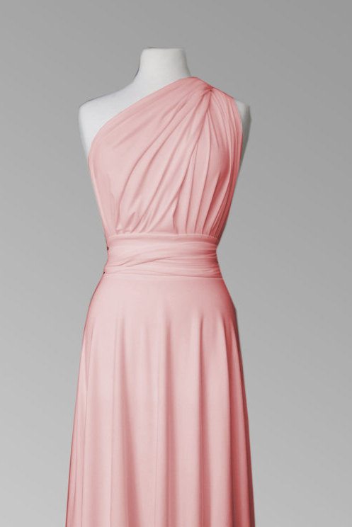 Wedding - Infinity dress in coral rose silk  color,  Bridesmaid  dress with matching tube top