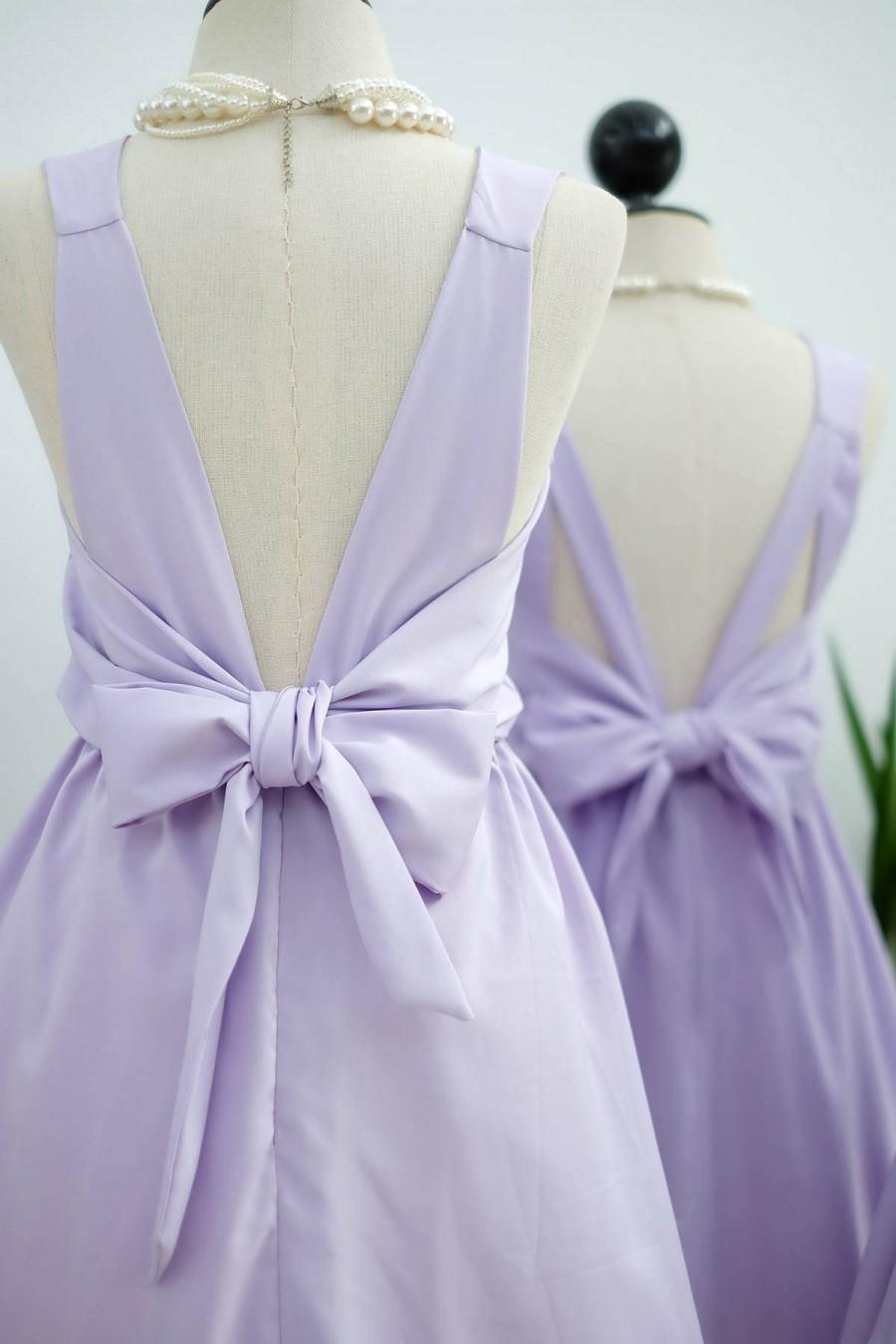 Wedding - Lilac dress lilac Bridesmaid dress Wedding Prom dress Cocktail Party dress Evening dress Backless bow dress