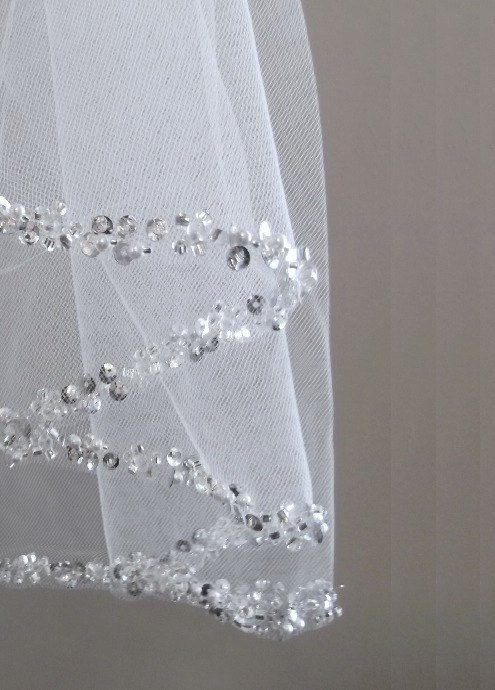 Mariage - Pearl and Rhinestone Beaded Edge Wedding Veil in Elbow, Fingertip, Floor, Chapel, Cathedral, or Royal Cathedral Length - Free Tulle Swatches