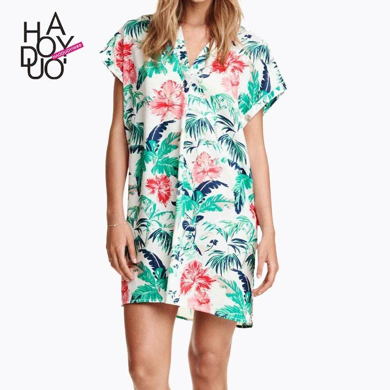 5e96eca052d9a Casual Oversized Sexy Printed Batwing Sleeves V-neck Floral Summer Dress -  Bonny YZOZO Boutique Store