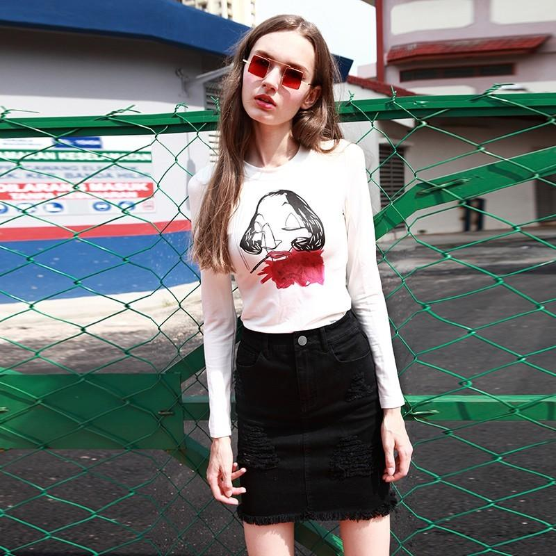 Wedding - Vintage Scoop Neck Cotton Graffiti Casual 9/10 Sleeves T-shirt Top Basics - Bonny YZOZO Boutique Store