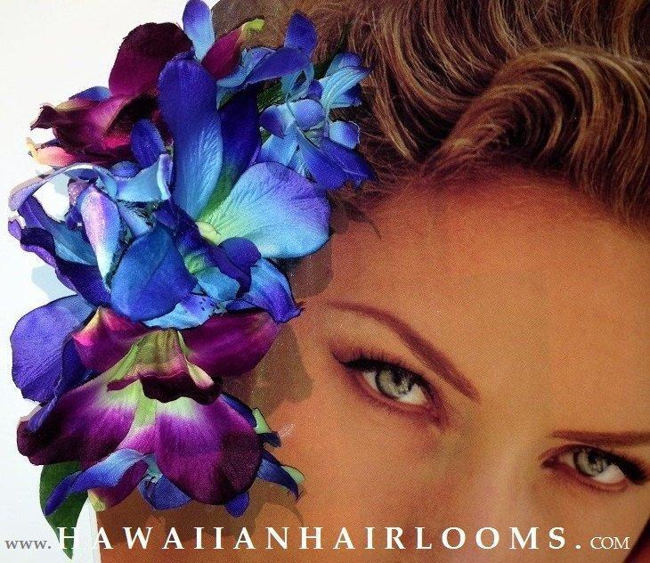 Mariage - BLUE ORCHIDS HAIR clip-Tropical orchids hair,Hawaiian flowers clip,Dendrobium,Hula flowers,Pinups clip,Bridals,Beach,blue flowers,Hawaii.