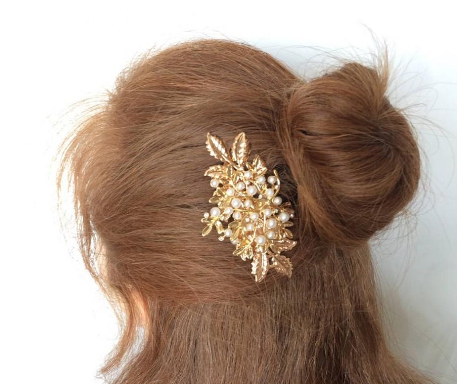 Mariage - Large Pearl Comb Gold Leaf Hair Comb Wedding Hair Accessory Bridal Hair Comb Pearl Leaf Head Comb Leaves Hair Clip Rose Gold 3 Inches Comb