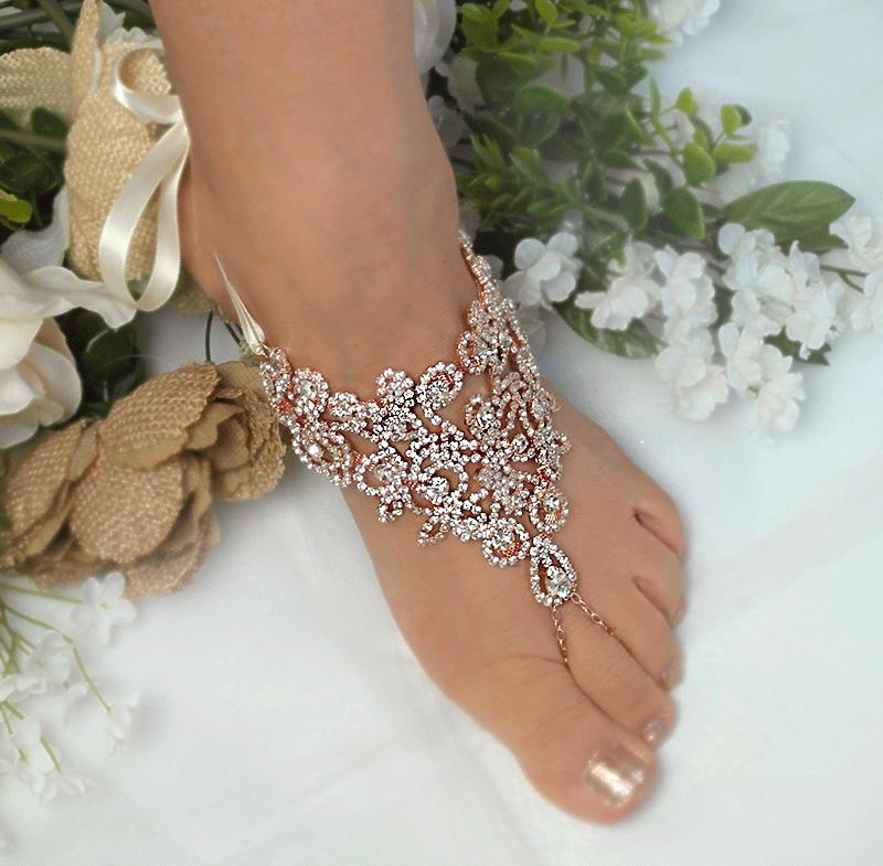 Wedding - Wedding Rose Gold,Silver Barefoot Sandals,Rhinestone Foot Jewelry, Footless Sandal,Beach Barefoot Sandals,Bridal,Bridesmaids Jewelry  -SD031