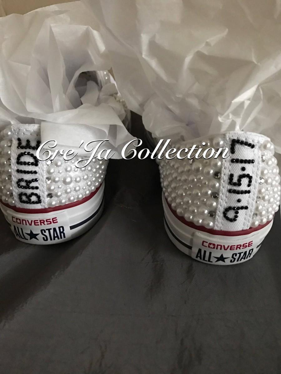 Mariage - Wedding Converse, Pearl Converse, Bridal Converse, Wedding Sneakers, Bridal Sneakers,White Pearl Sneakers, Custom Wedding Shoes, All White