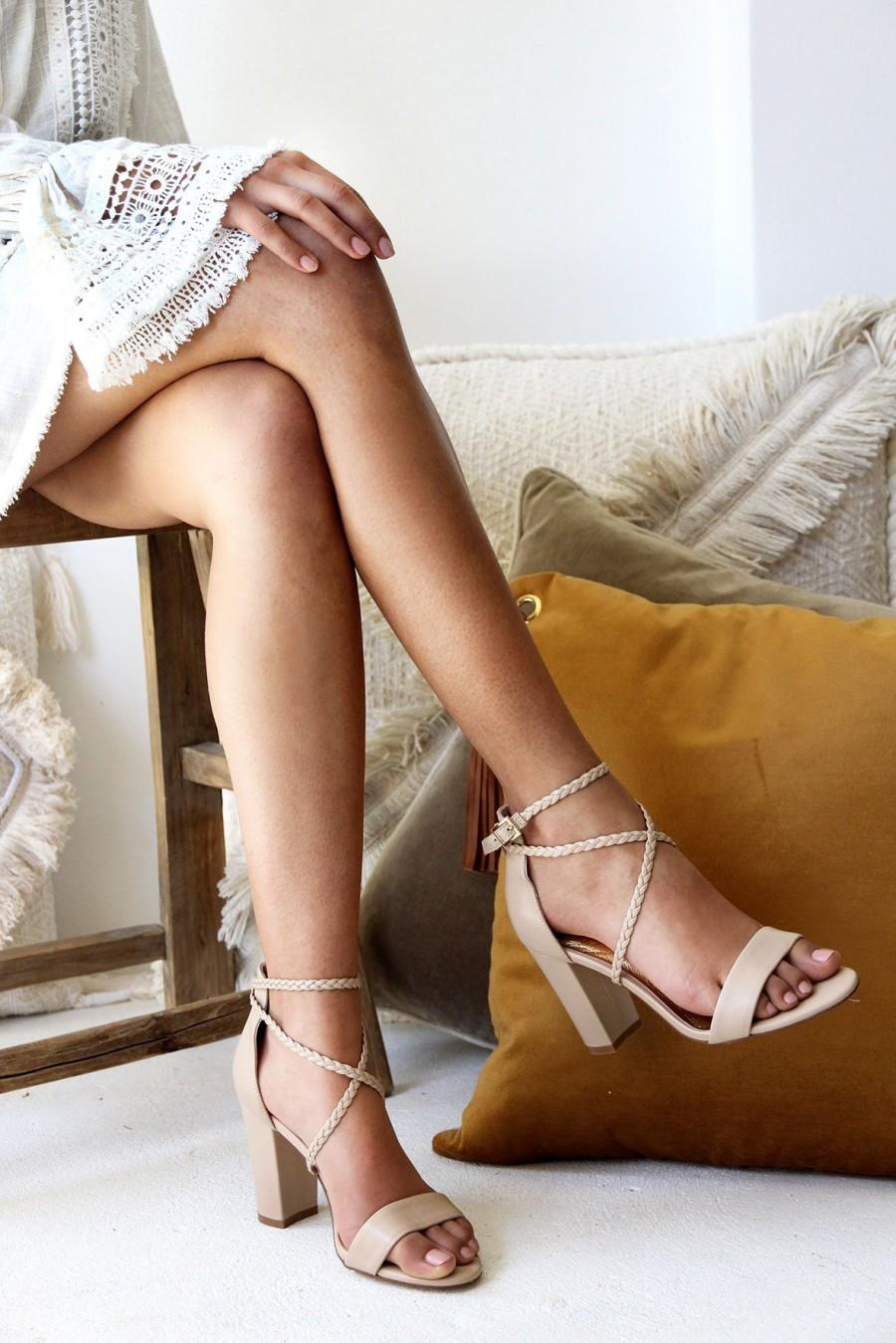 Mariage - Ladies Nude Leather Block Heels, Wedding Shoes, Plaited straps, Boho Bridal Shoe, Designer Shoes, Wedding Heels, Style: Peace & Love Nude