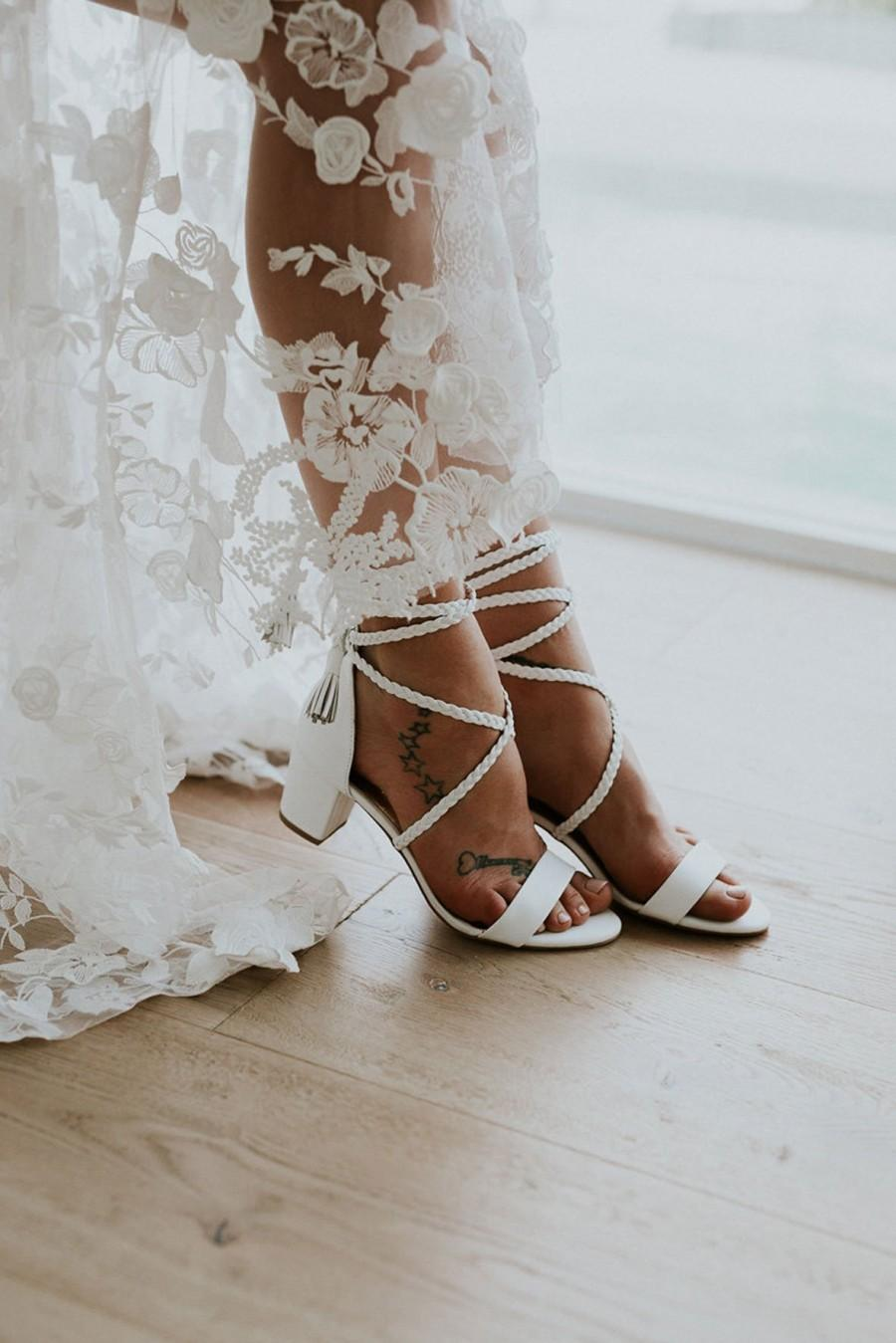 Mariage - Ladies low heel wedding shoes, Plaited Leather, Plaited ties, Bohemian Bridal Shoe, Wedding shoe, Boho shoe, Beach wedding: Daydreamer
