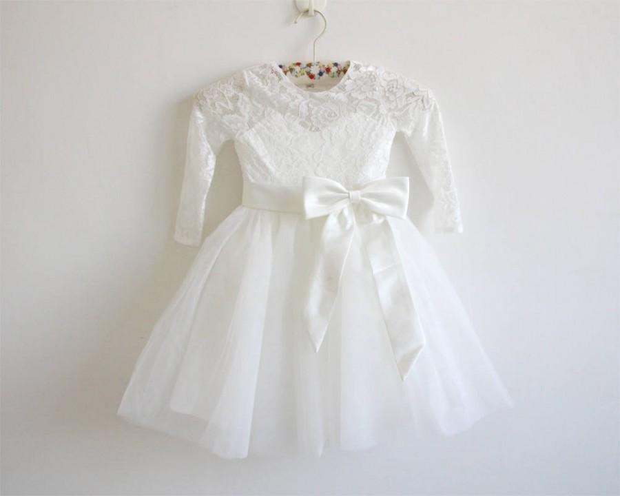 Wedding - Long Sleeves Light Ivory Flower Girl Dress Lace Tulle Flower Girl Dress With Light Ivory Sash/Bows