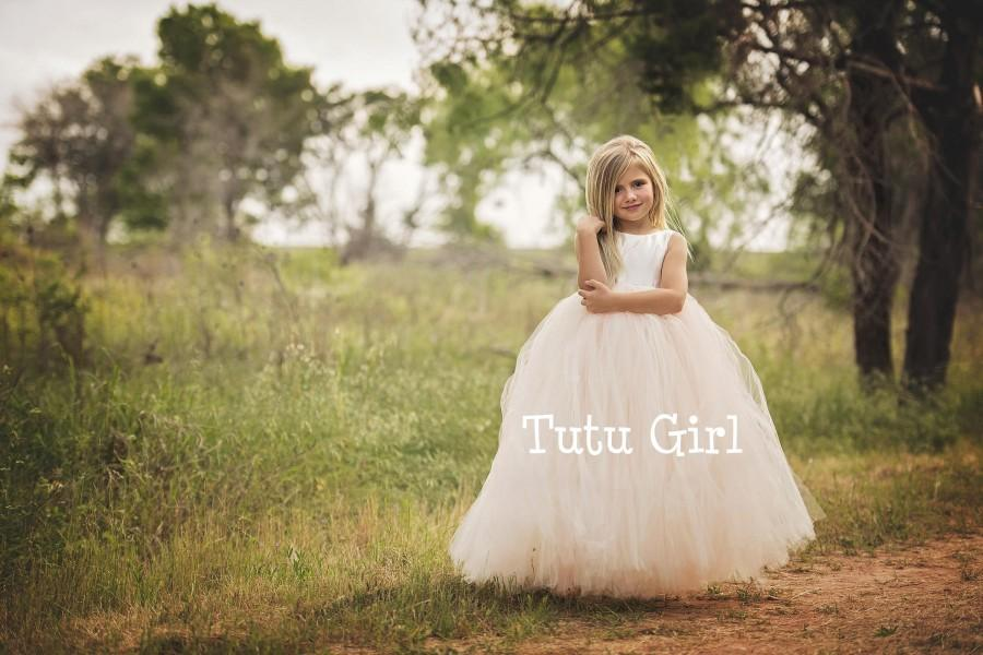 Hochzeit - Blush Flower Girl Dress, Blush Tulle Flower Girl Dress, Floor Length Tutu Dress with Ivory Satin, Weddings, Birthdays, Portraits