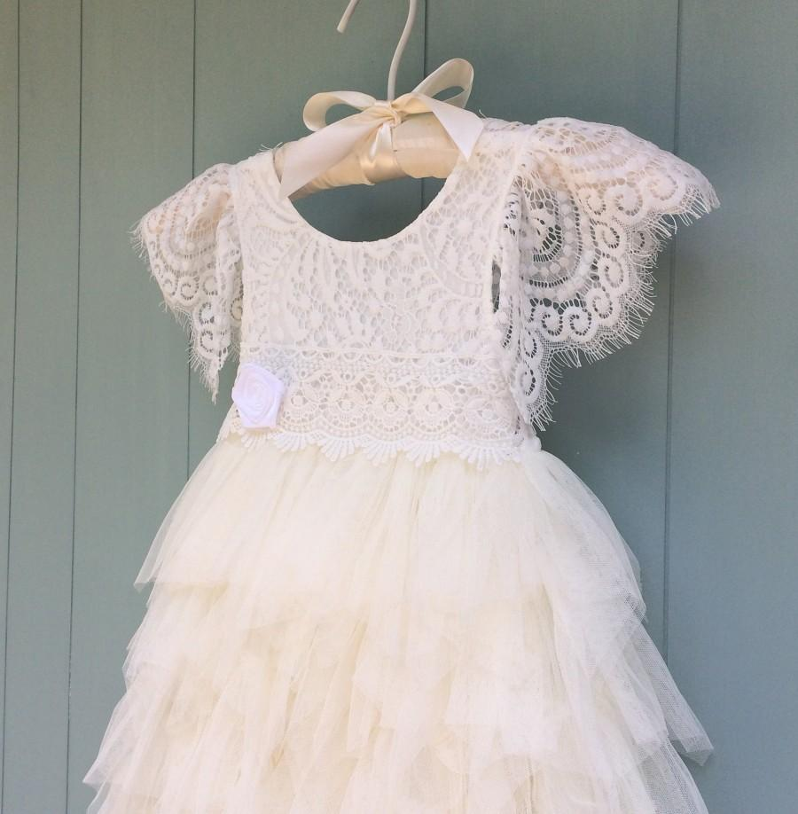 Mariage - Ivory flower girl dress, Lace flower girl dress, Tulle flower girl dress, Toddler flower girl dress, Ivory tutu dress, First Birthday dress