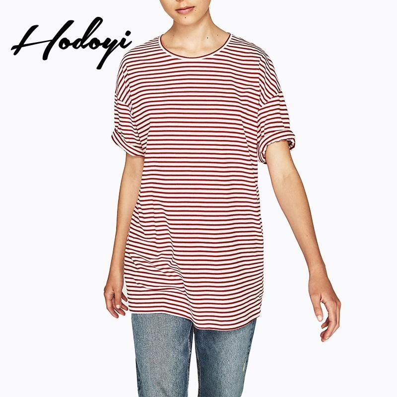 Wedding - School Style Must-have Oversized Vogue Simple Scoop Neck Summer Short Sleeves Stripped T-shirt - Bonny YZOZO Boutique Store