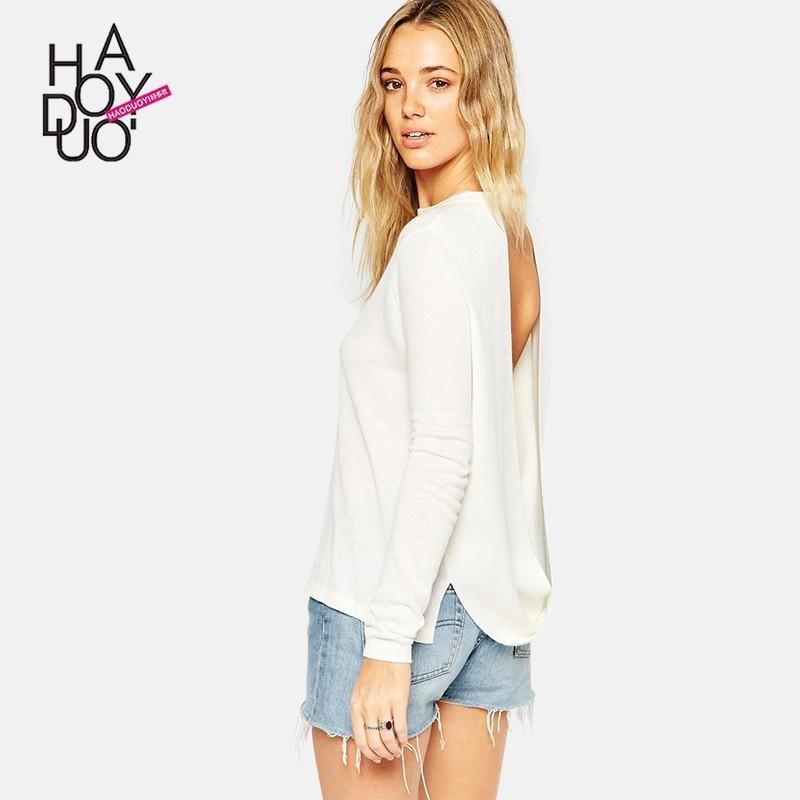 زفاف - Vogue Sexy Open Back One Color Spring Casual Sweater Basics - Bonny YZOZO Boutique Store