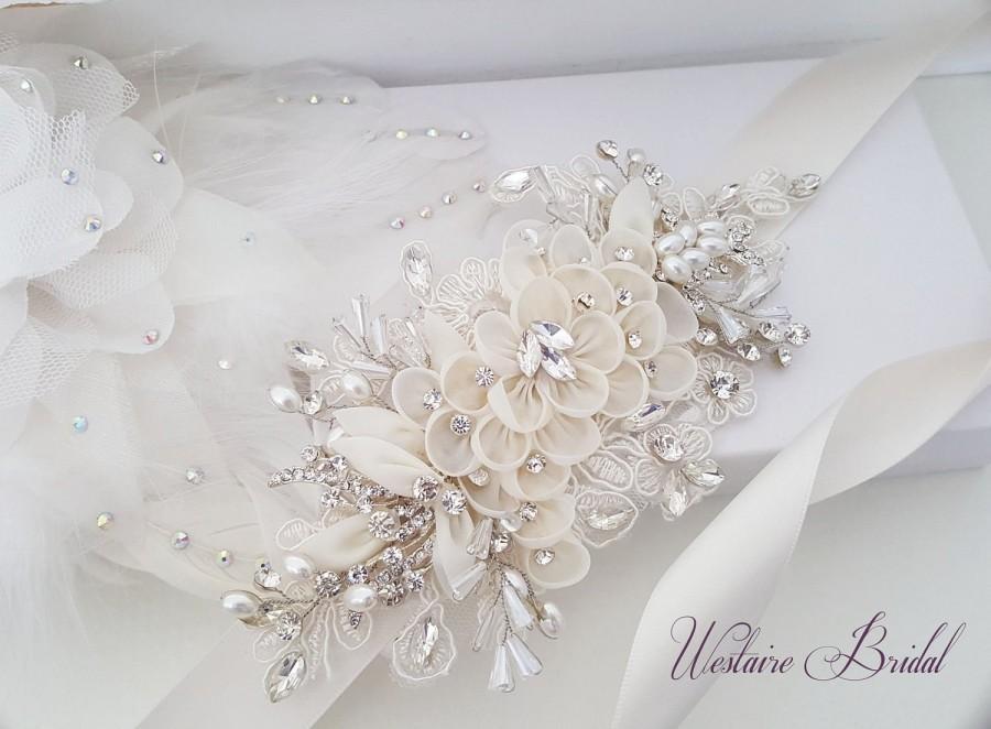 Wedding - Floral Wedding Sash, Bridal Belt, Custom Wedding Belts and Sashes - Style 789