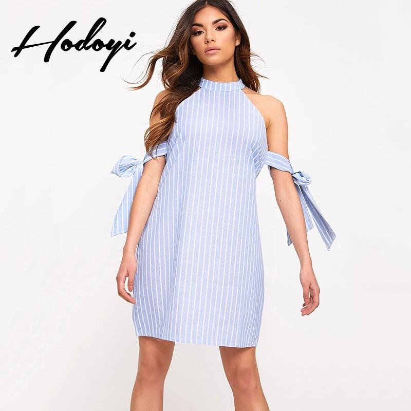 8b000b42d19b Oversized Vogue Sexy Sweet Bow Off-the-Shoulder Sleeveless Summer Tie  Stripped Dress - Bonny YZOZO Boutique Store
