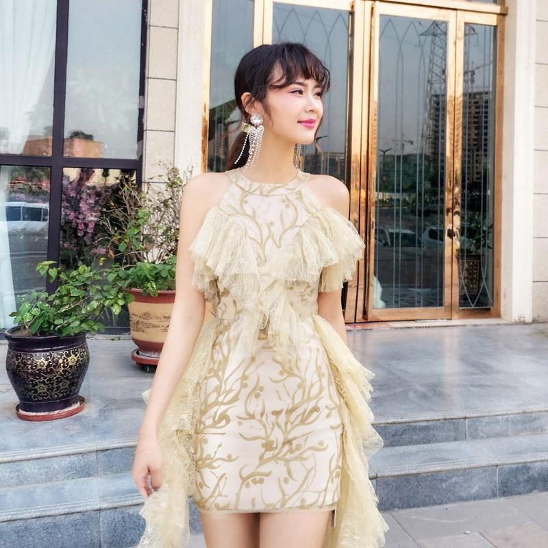 Wedding - Split Front Embroidery Slimming Off-the-Shoulder High Waisted Frilled Lace Dress Skirt - Bonny YZOZO Boutique Store