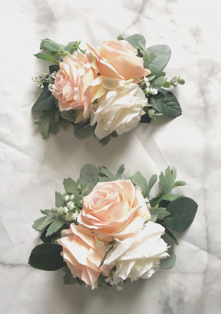 Hochzeit - Wedding Cake Decoration Cake Arrangement Topper Artificial Flowers Wedding Decor Flowers Peach Cream Wedding Floral Arrangement Cake Topper