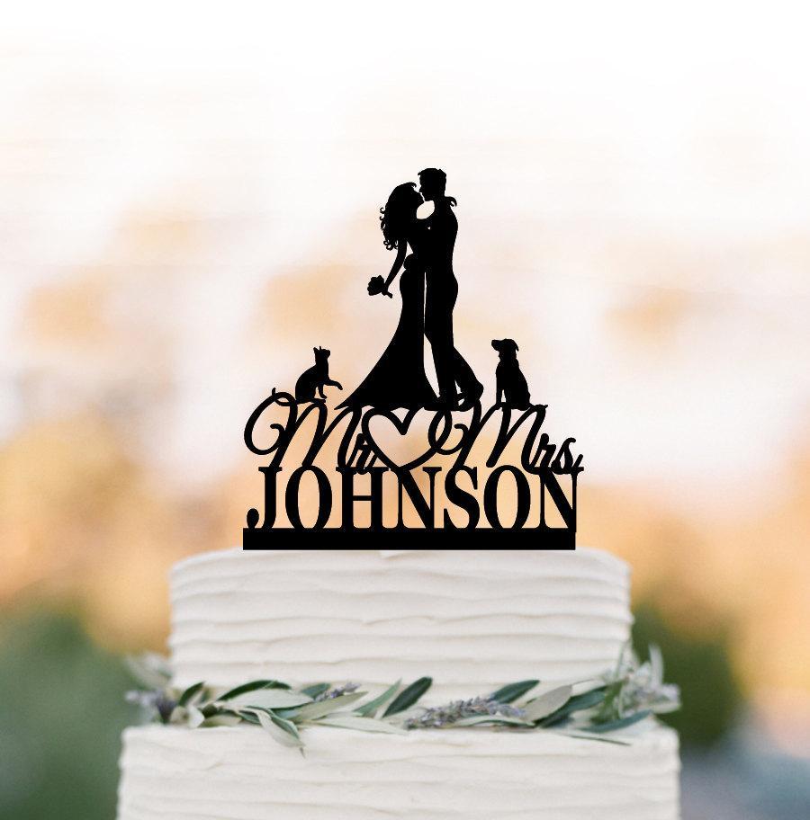 زفاف - Personalized Wedding Cake topper mr and mrs, Cake Toppers with dog, bride and groom silhouette cake toppers with cat