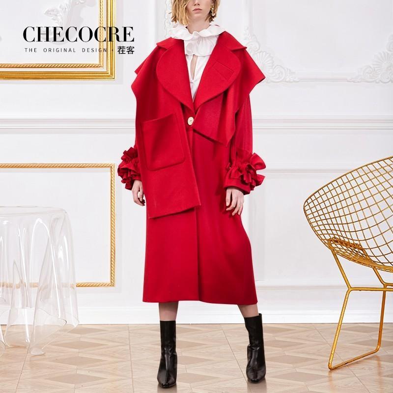 Wedding - Oversized Plus Size Agaric Fold Wool Coat Overcoat - Bonny YZOZO Boutique Store
