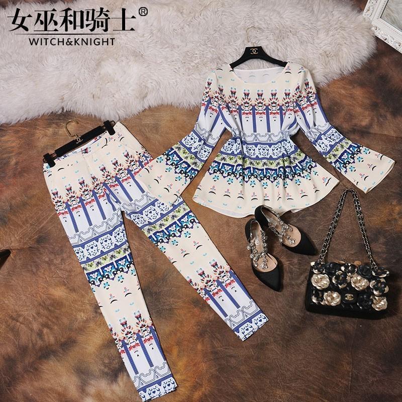 Mariage - Stylish two-piece summer 2017 new qualities of self printed set nine pants women - Bonny YZOZO Boutique Store
