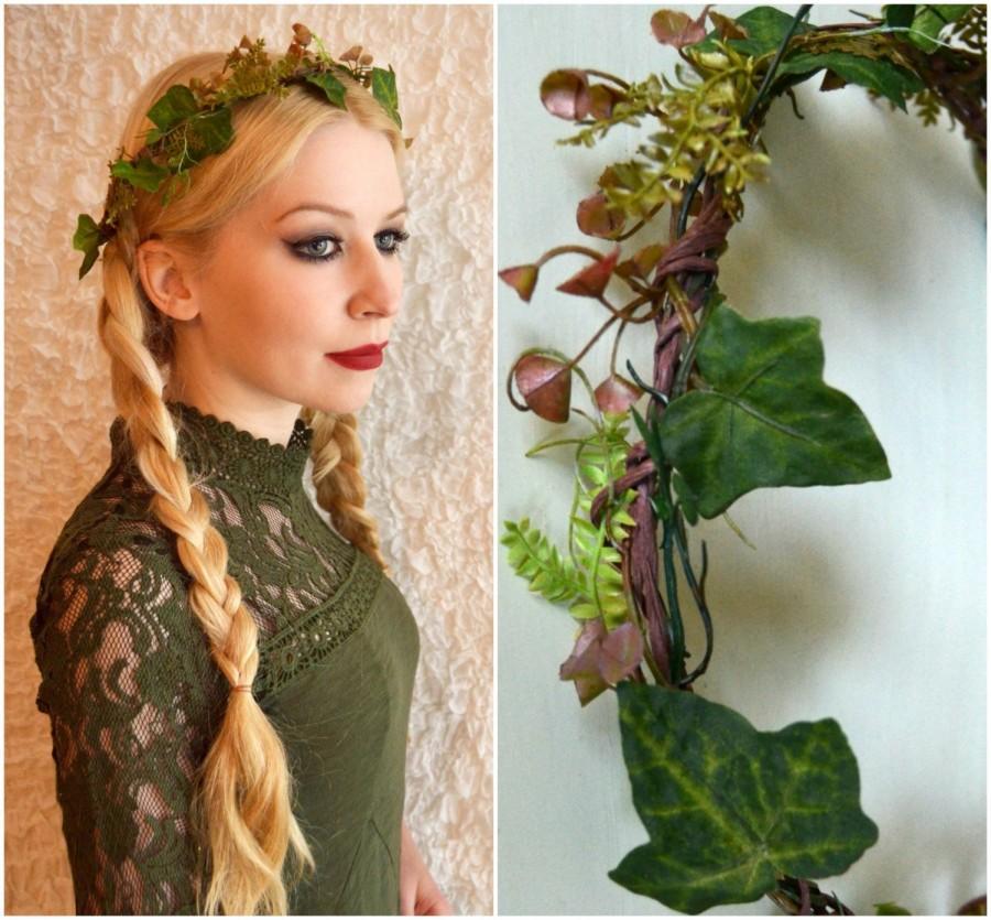 Mariage - Forest Muse-Flower Wreath, Elf crown, ivy, wedding, bridal wreath, bridal ornament, summer, Boho,