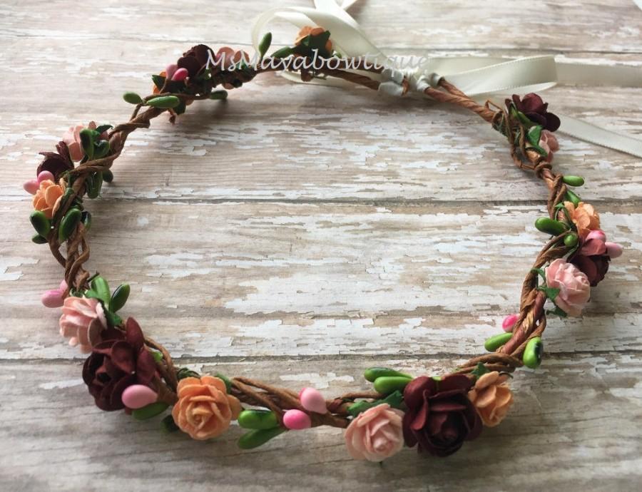 Mariage - Flower crown, fall flower headband, flower girl headband, burgundy flower headband, pip berry crown, bridesmaids flower crown, floral wreath