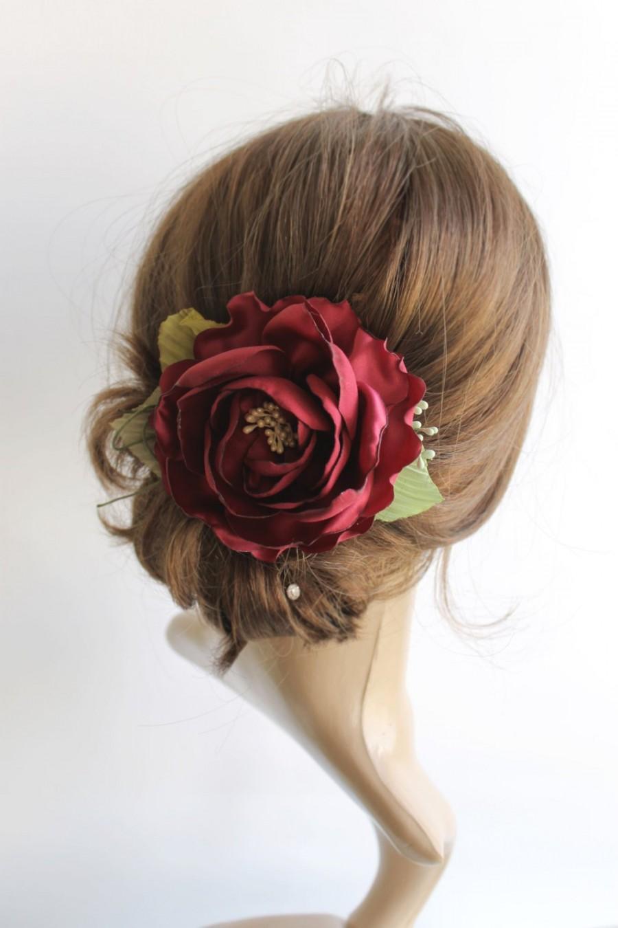 Свадьба - Marsala rose hair clip, Wine Bridal hair piece, Wedding floral hair accessory, Dark red satin fabric flower clip, Bridesmaids floral gift,