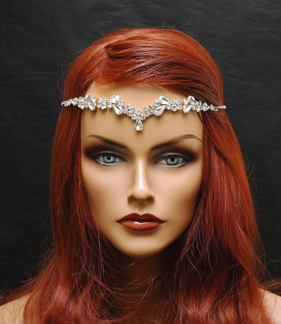 Mariage - Bridal Headband, Teardrop Bridal Hair Comb, Forehead Band, Wedding Hair Jewelry, Reign Headpiece, 1920s Gold Hair Chain Jewelry, Boho Hair