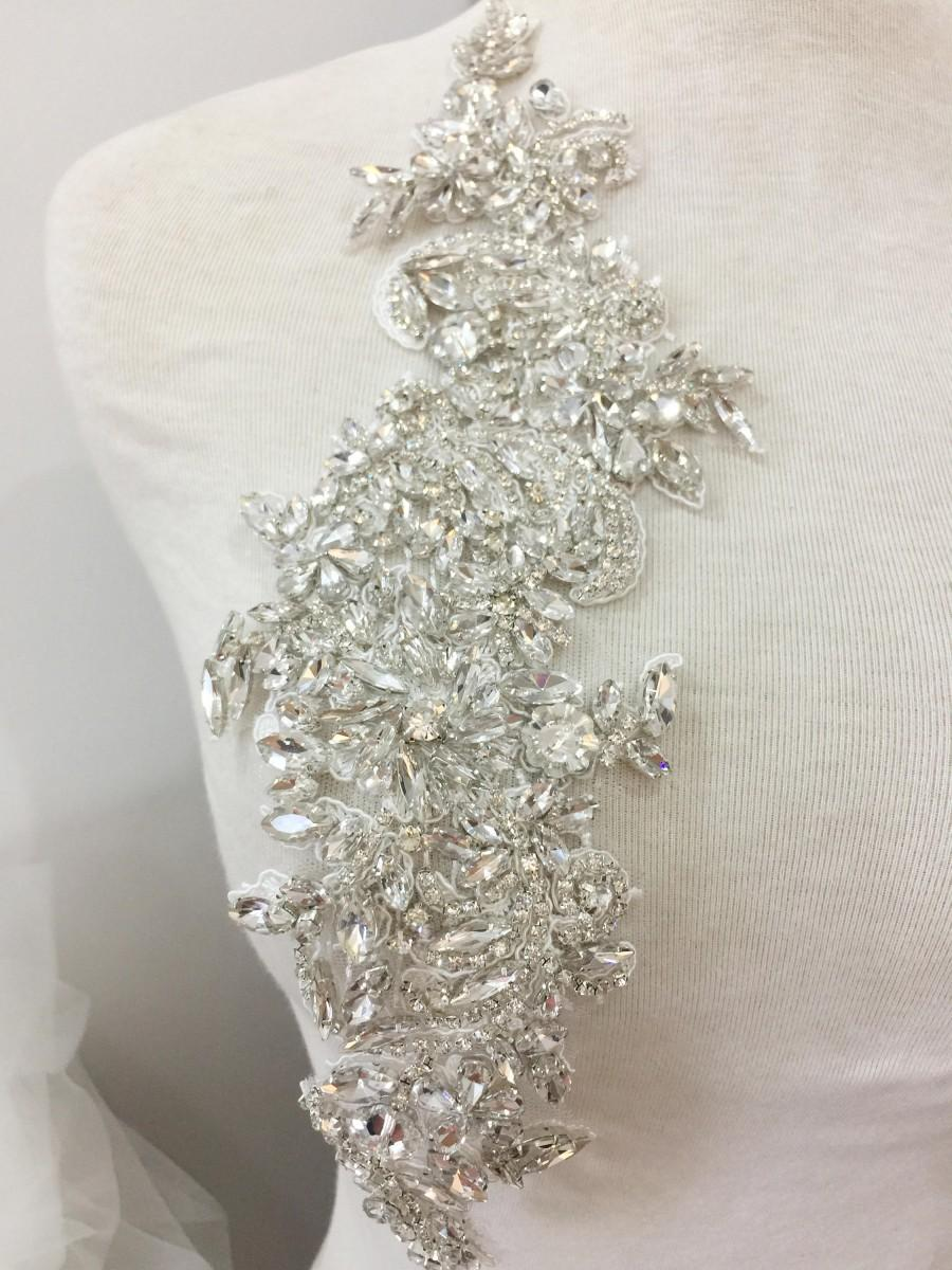 Wedding - Full Crystal Rhinestone Beaded Applique Pair, Handmade Bridal Crystal Rhinestone Lace Statement for Bridal Sash Wedding Belt Gown Straps