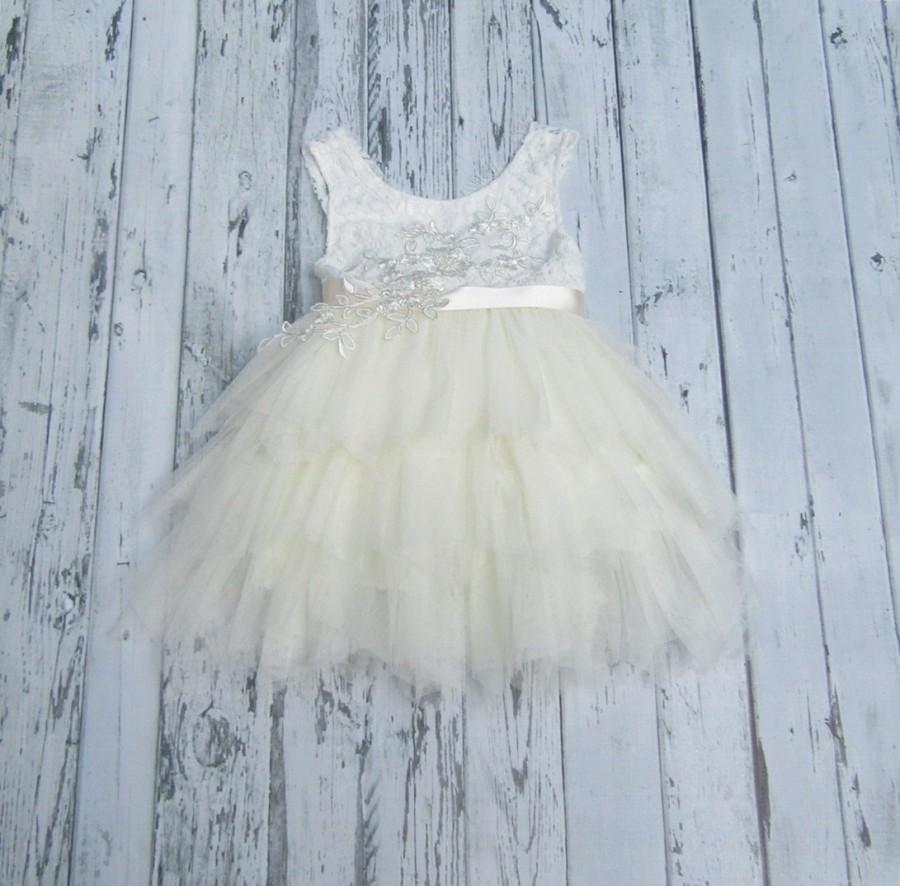 a0d51e1d6fa2 Ivory Flower Girl Dress Lace Flower Girl Dress Ivory tutu dress Boho Flower  Girl Dress Infant Flower Girl Dress Tulle Flower Girl Dress