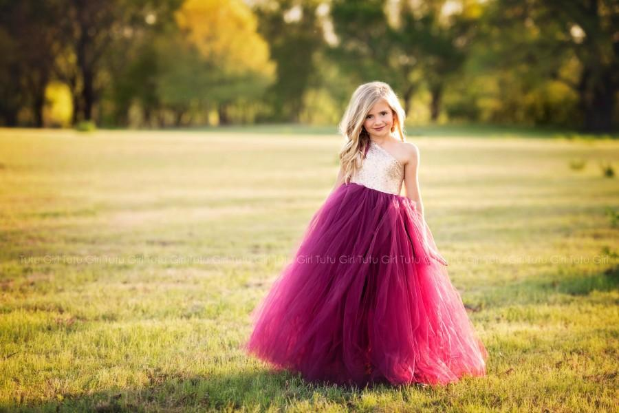 Свадьба - Wine Flower Girl Dress, Burgundy and Champagne Tutu Dress, Dark Red Wine Tulle Dress, Champagne Sequin Off the Shoulder Gown, Pageant Dress