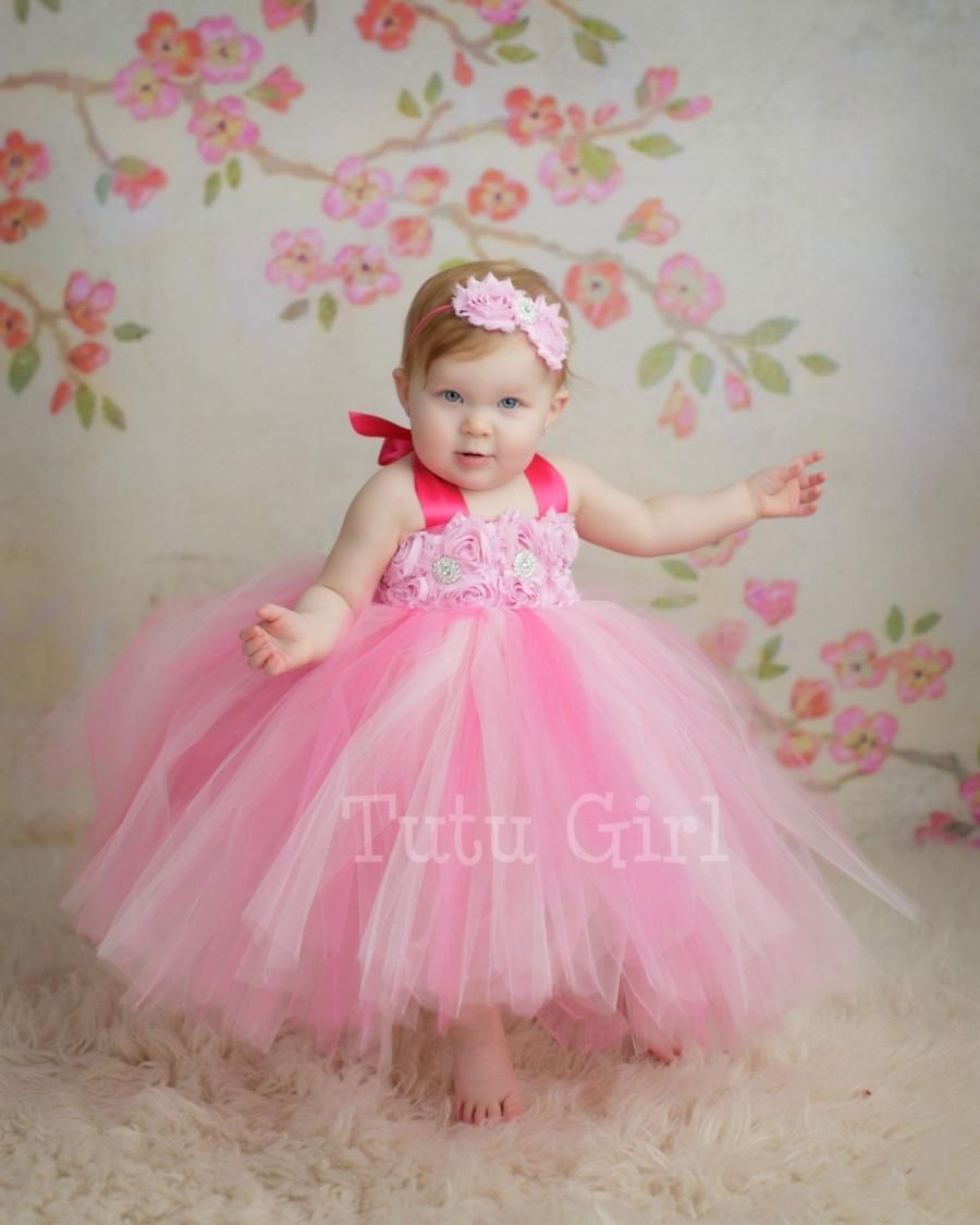 Свадьба - Pink Tutu Dress Flower Girl Toddler Baby Custom Length