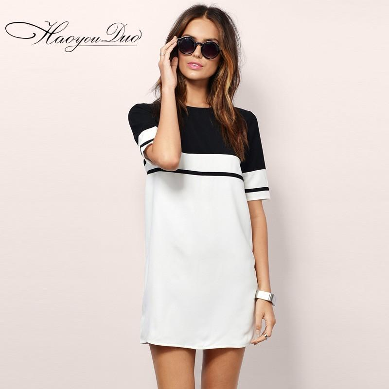 Свадьба - Split Front Scoop Neck Zipper Up Black & White Short Sleeves Stripped Dress Skirt - Bonny YZOZO Boutique Store