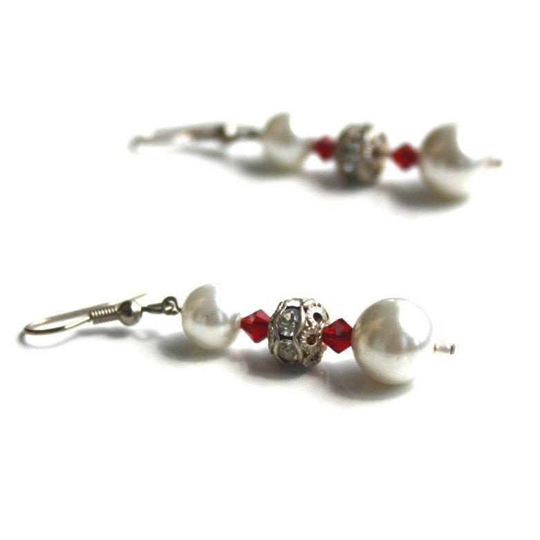 Wedding - wedding White faux pearls 3mm red crystals sphere crystal seperators earrings dangle drop hook handmade