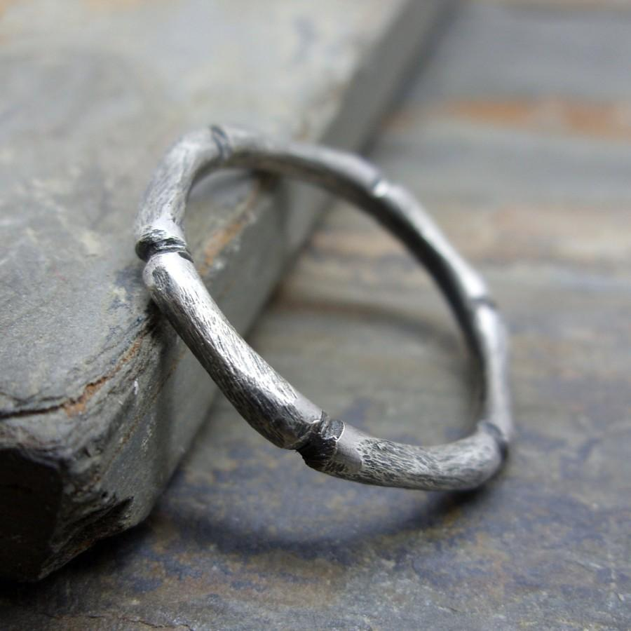 Hochzeit - Hand Carved Bamboo Stacking Ring in Sterling Silver