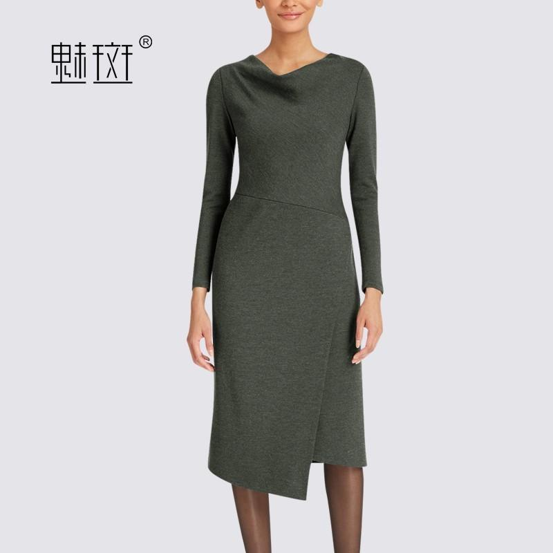 Свадьба - 2017 late autumn slim new temperament to play professional women in dresses long sleeves asymmetric hem dress - Bonny YZOZO Boutique Store